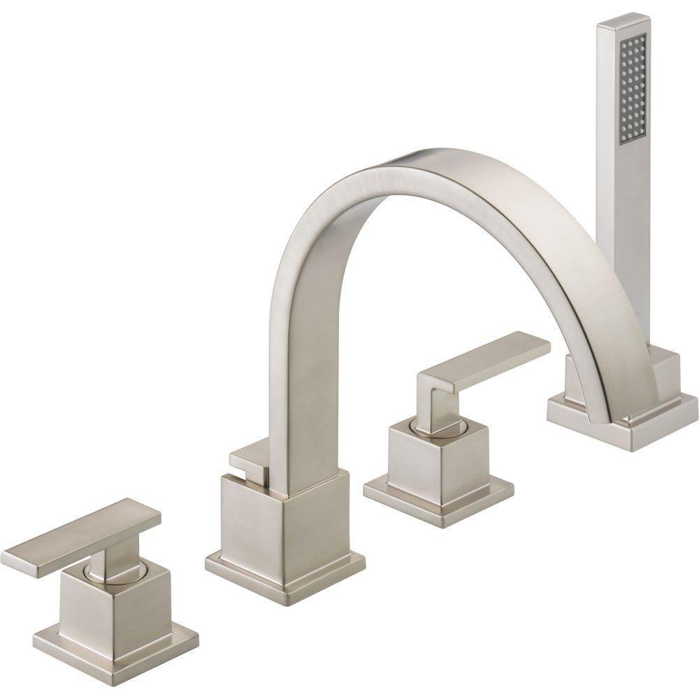 Delta Vero 2 Handle Deck Mount Roman Tub Faucet With Hand Shower