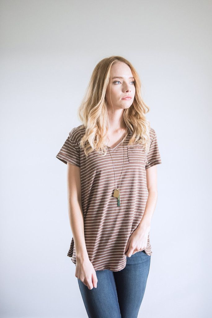 The Striped Hazel Blouse in Mocha