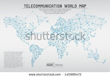Abstract telecommunication world map with circles, lines and - new world map software download for mobile