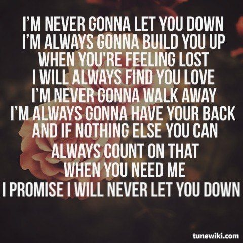 Lyricart For Never Gonna Let You Down By Colbie Caillat With