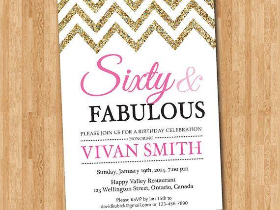 60th birthday invitation women Sixty and fabulous Glitter Glam – Tiffany Blue Birthday Invitations