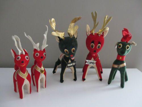 Vintage-1950s-Set-of-5-Dakin-Japan-Christmas-Stuffed-Velvet-Reindeer