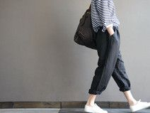 Black Linen elastic waist loose turnip pants
