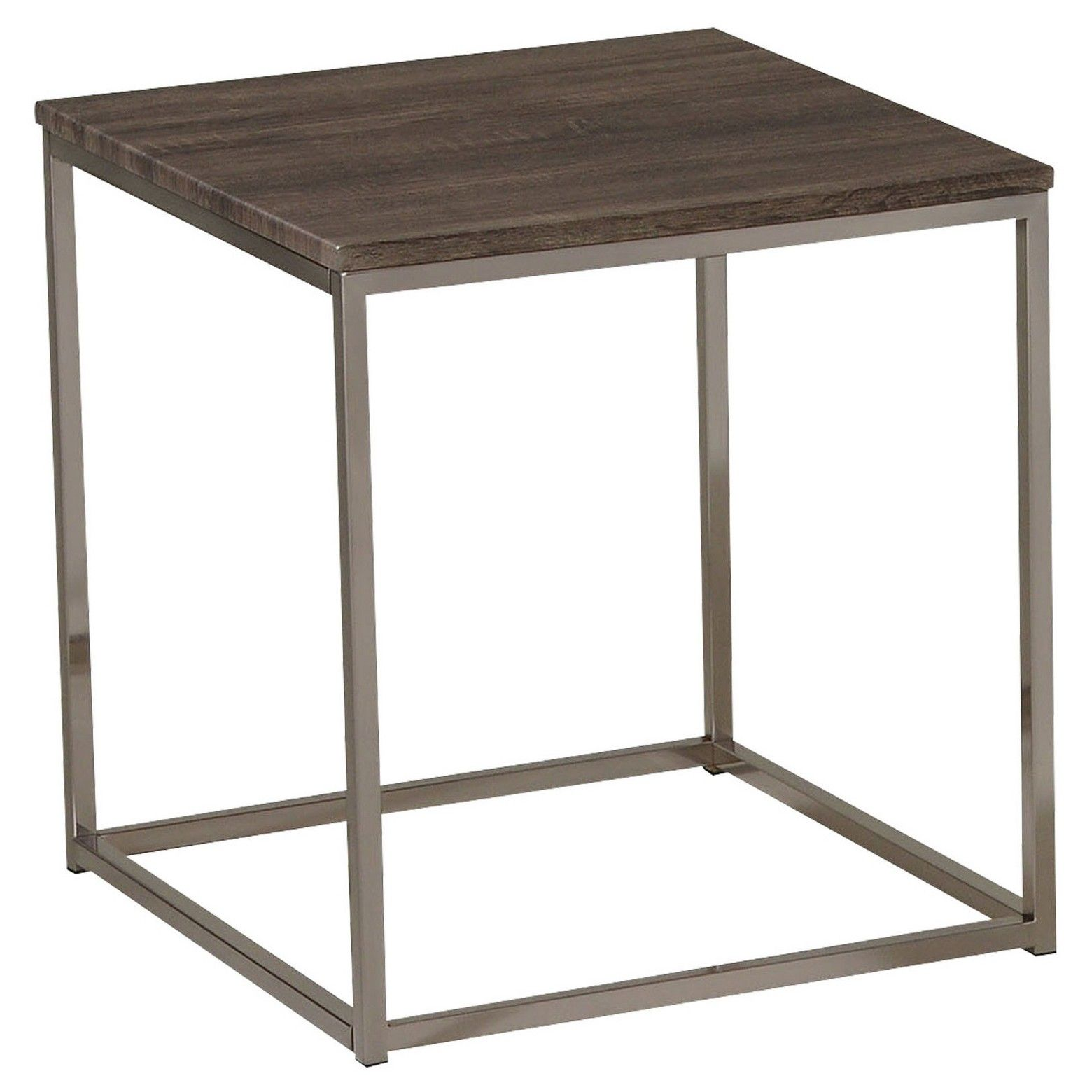 Cecil End Table Walnut & Brushed Nickel Acme