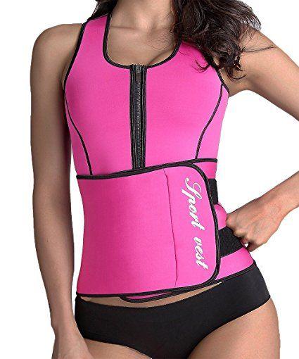 b78057ae06 Manladi Neoprene Sauna Suit Tank Top Vest Waist Trimmer with Adjustable Waist  Trainer Belt at Amazon Women s Clothing store