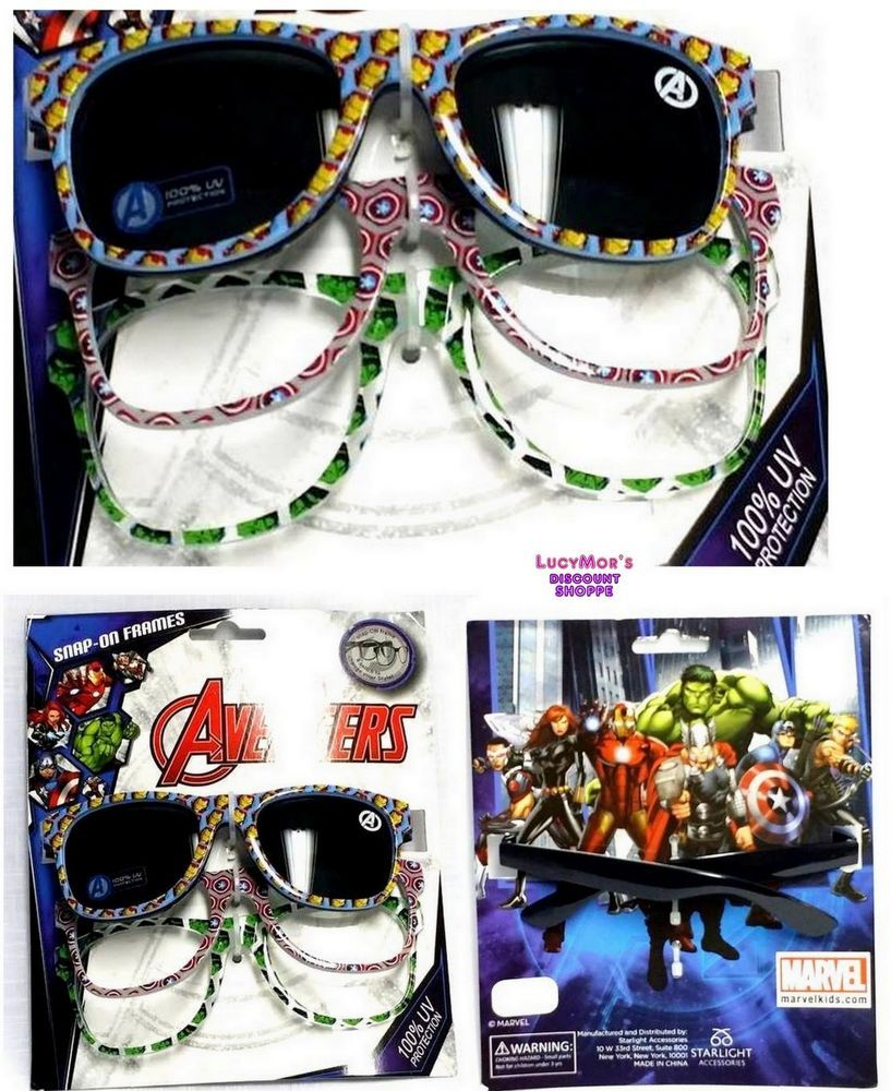 Marvel AVENGERS Kid's SUNGLASSES with SNAP-ON FRAMES (100% UV Protection)  NWT #MarvelbyStarlightAccessories