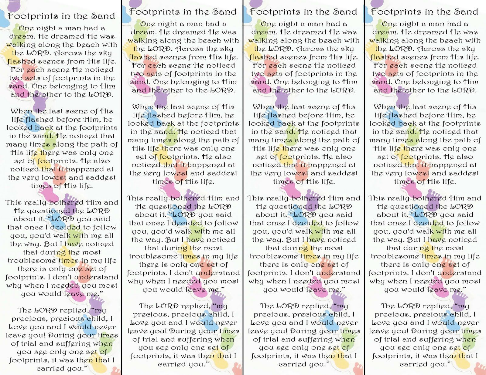 picture about Footprints in the Sand Poem Printable Version known as Footprints within the Sand Poem Bookmark Printable Edition Check out