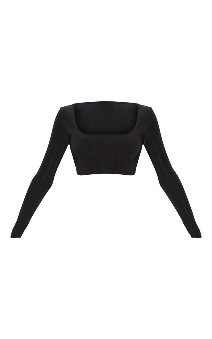Black Second Skin Square Neck Long Sleeve Crop Top