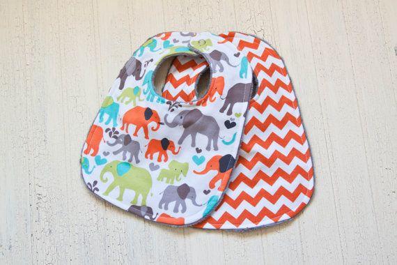 baby bib set, baby chevron bibs, baby boy bibs, baby bibs, baby shower gift, chevron, baby elephant bib, michael miller on Etsy, $15.99