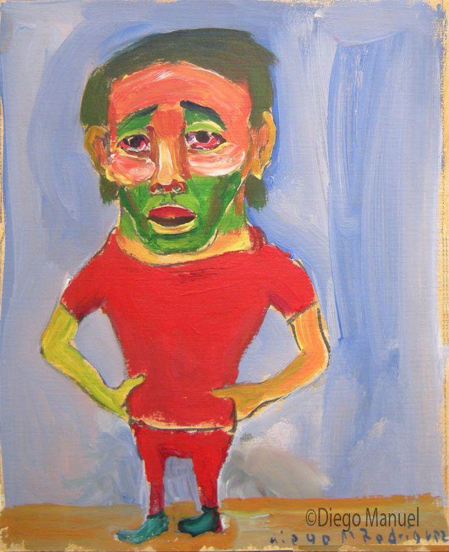 """El hincha"",gouache sobre papel, 24x 18 cm., year 1998"