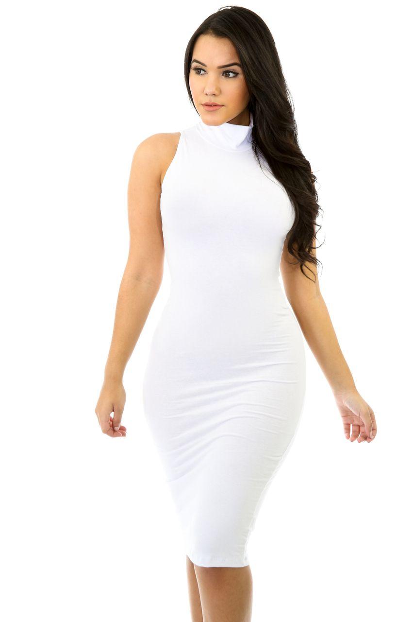 Plus Size Sleeveless Turtleneck Midi White Mini Dress Mini Dress Victoria Dress [ 1280 x 853 Pixel ]