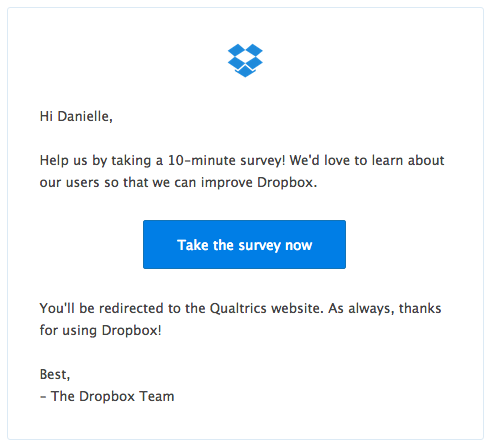 email marketing examples: survey email