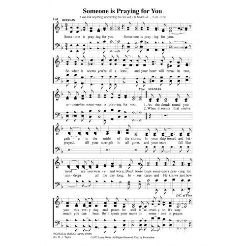 Someone Is Praying For You Pdf Song Sheet With Images Hymn