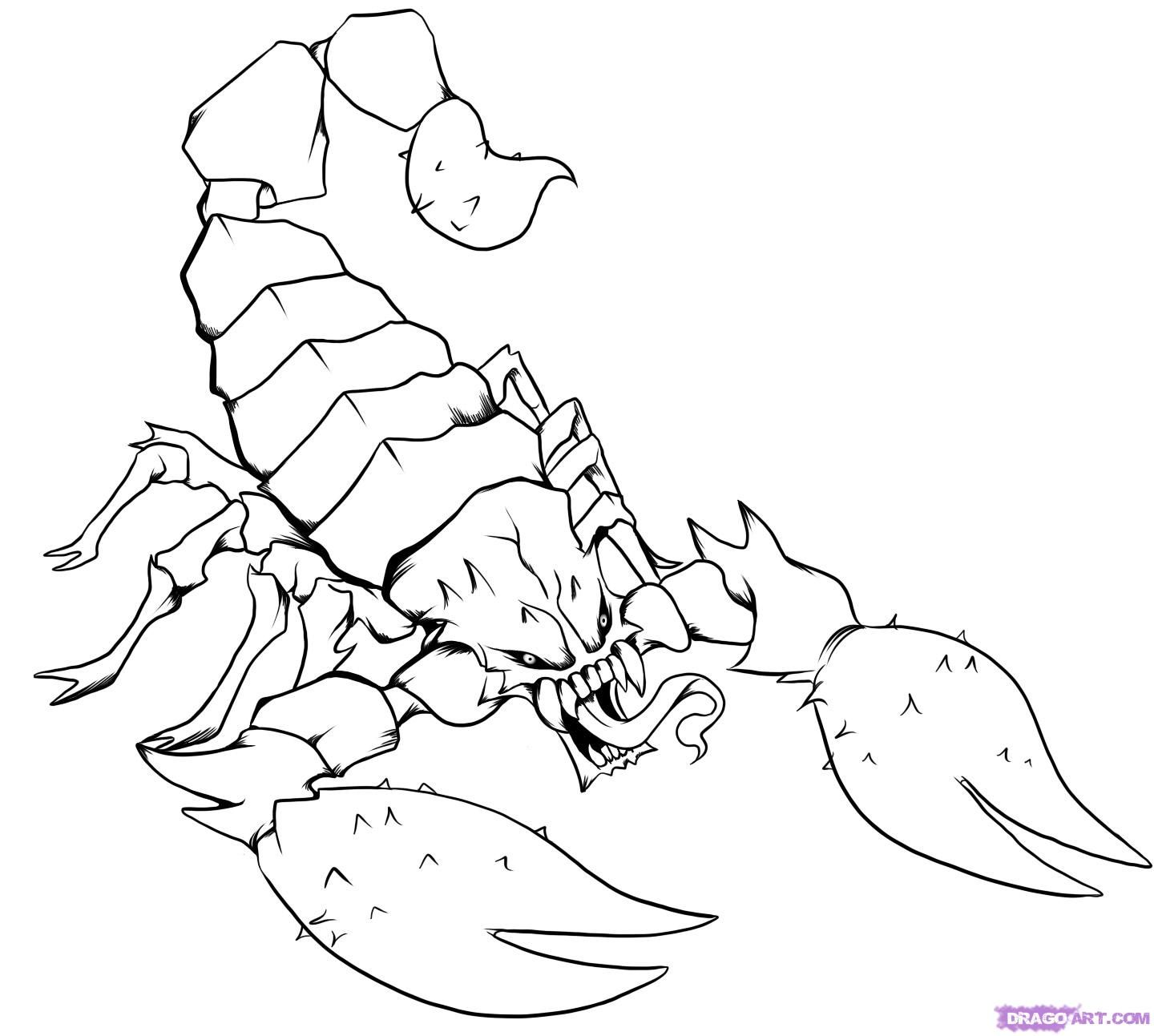 Coloring pages · step 7 online drawing scorpion art lessons zodiac beautiful body body