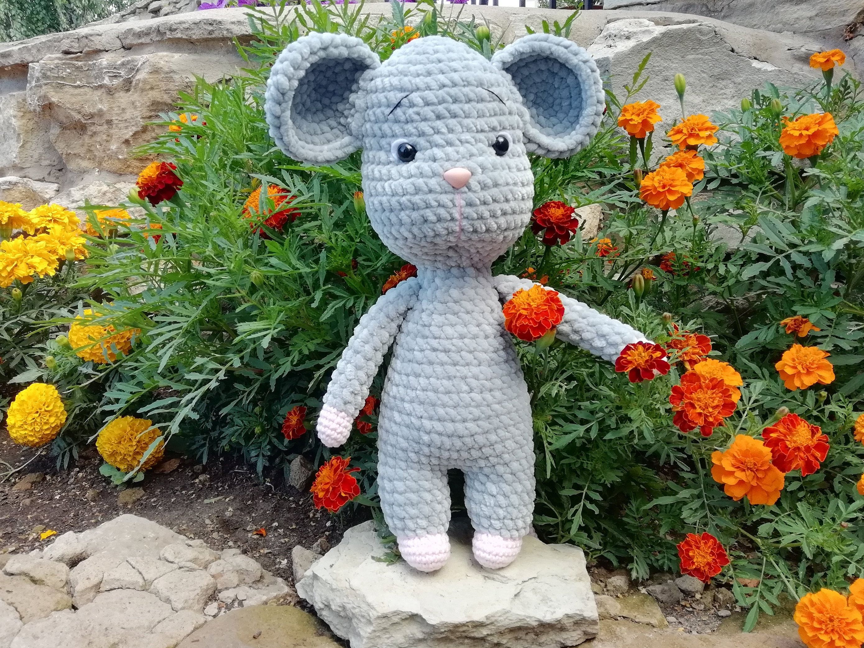 "13"" Monti the mouse plush toy Amigurumi mouse stuffed"