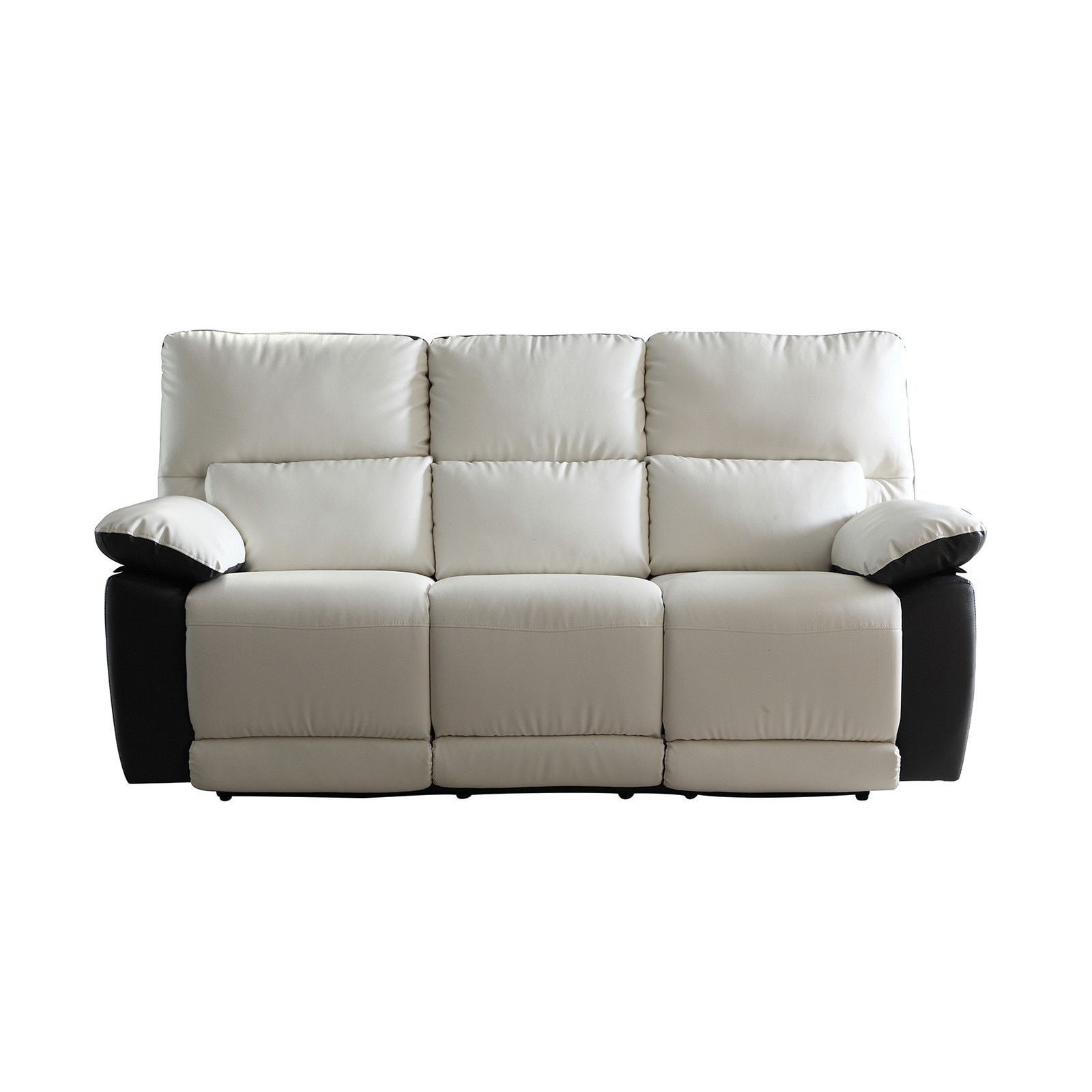 Madison Modern Two Tone Bonded Leather Oversize Recliner Sofa (White ...