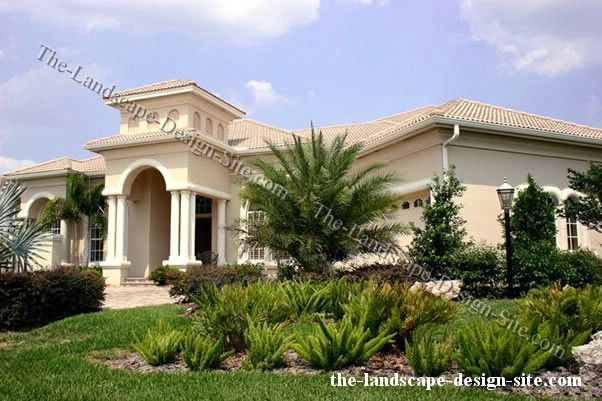 Tropical Homes Sloped Mediterranean Front Yard Ideas