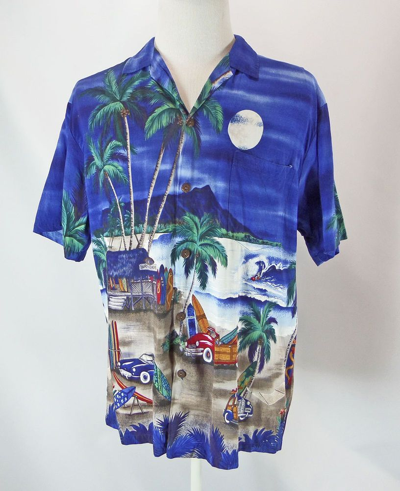 2fe08ac29 Moon Light Beach Rayon Aloha Shirt XL Hawaiian Reserve Collection Woodies  Surfer | Collectibles, Cultures & Ethnicities, Hawaiian | eBay!