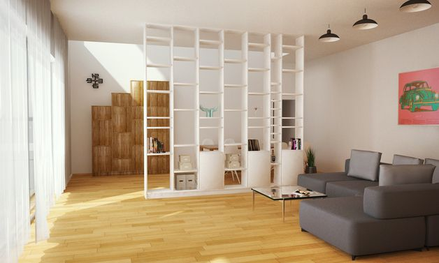 Raumteiler, Bücherregal weiß, 300x300x20cm   arq. in 2019 ...