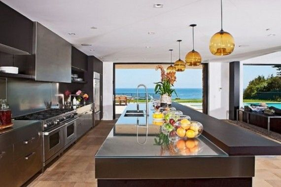 Modern Castle Kitchen Interior With Beautiful Beach Panoramic Beachkitchenideas Beach House Design Kitchen Models House Design