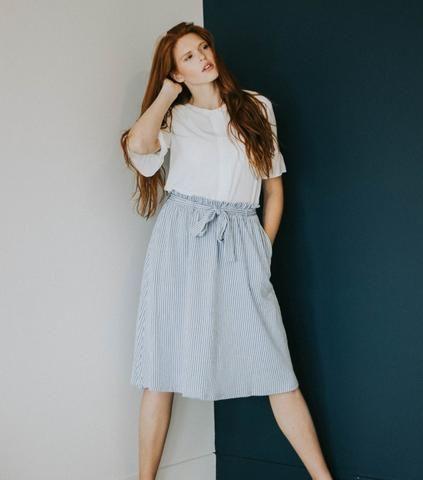 The Nora Pinstripe Skirt   Paige Avenue   Striped Skirt   Summer Skirt   Modest Skirt   Summer Style
