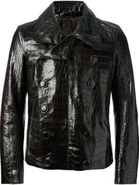 7aa686d796e Giorgio Armani aligator leather jacket on shopstyle.com | Black aligator  leather jacket from Giorgio Armani featuring large notched lapels, ...