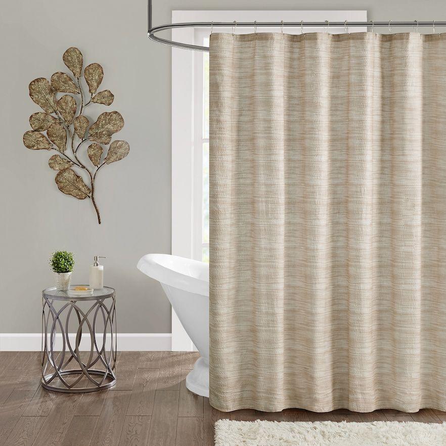Madison Park Springdale Seersucker Shower Curtain Beig Green