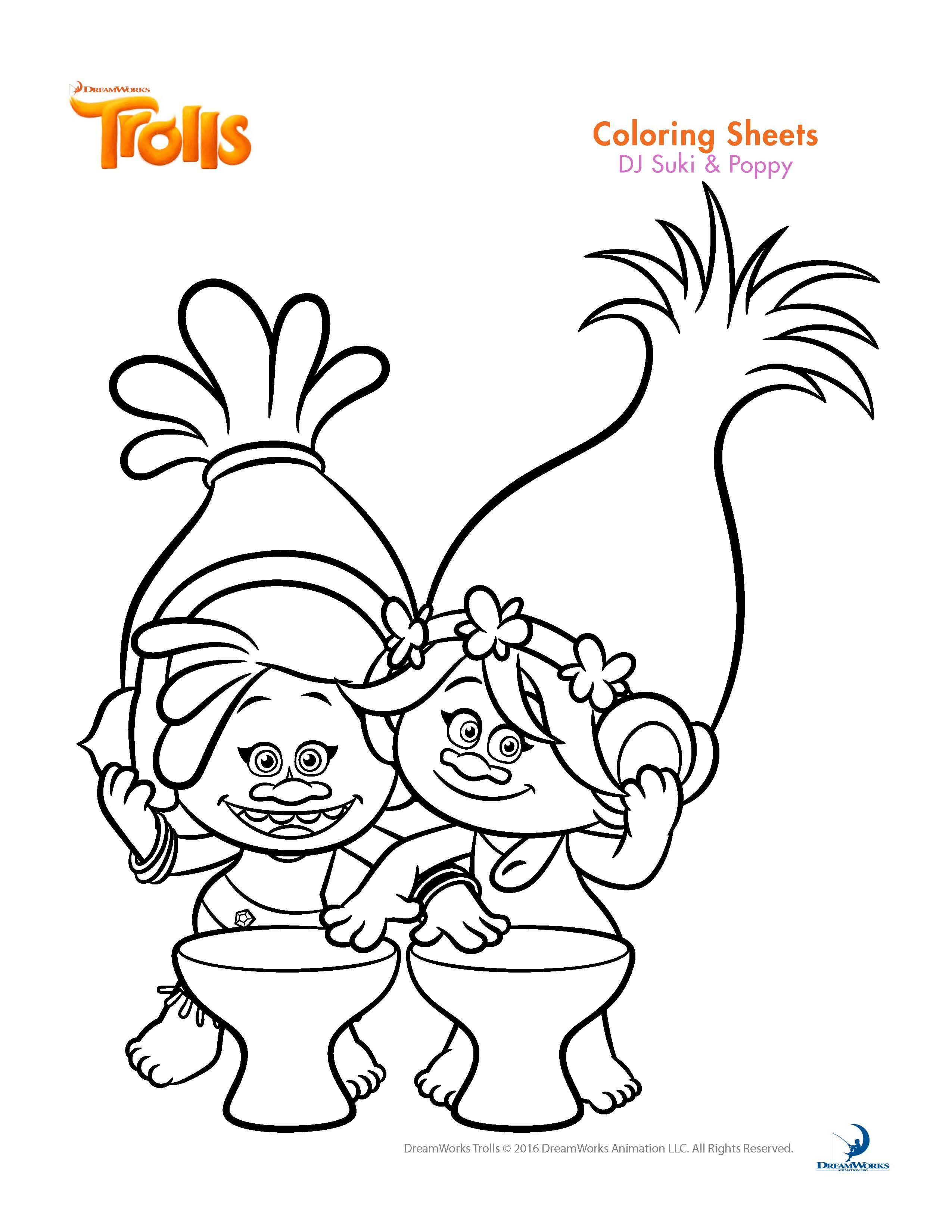 Trolls Coloring Pages And Printable Activity Sheets Poppy