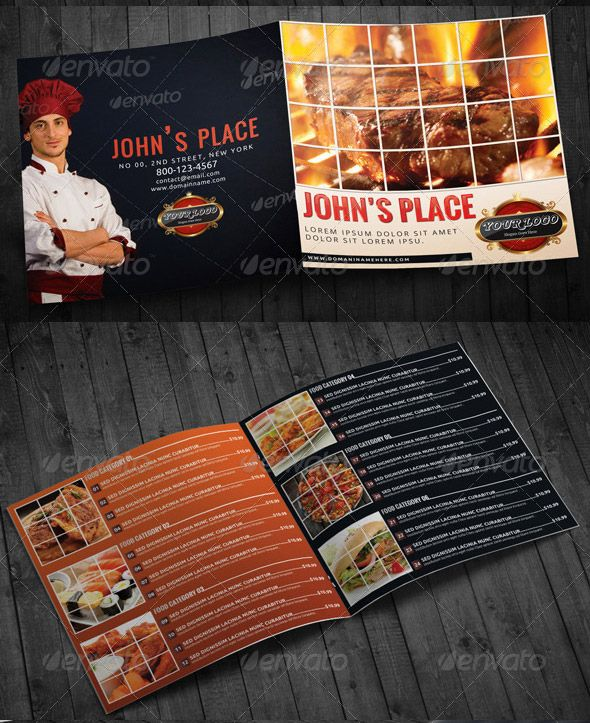 BiFold Square Food Menu Template  Menu Design    Food