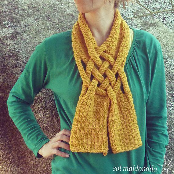 Knit Scarf PDF Pattern - Weave PDF Knitting Pattern - Woman Girl ...