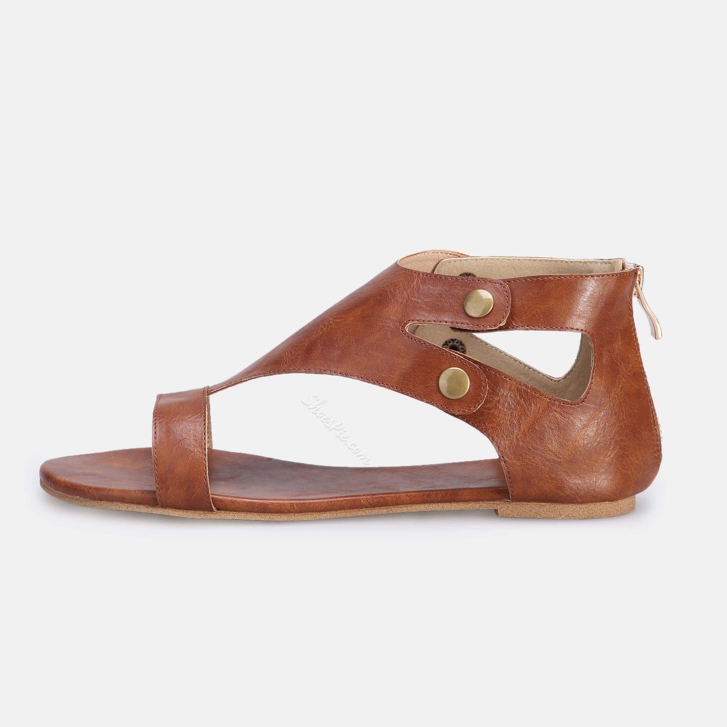 Shoespie Brown Rivets Heel Covering Flat Sandals Ad Rivets Ad Brown Shoespie Heel Heel Covers Shoespie Sandals
