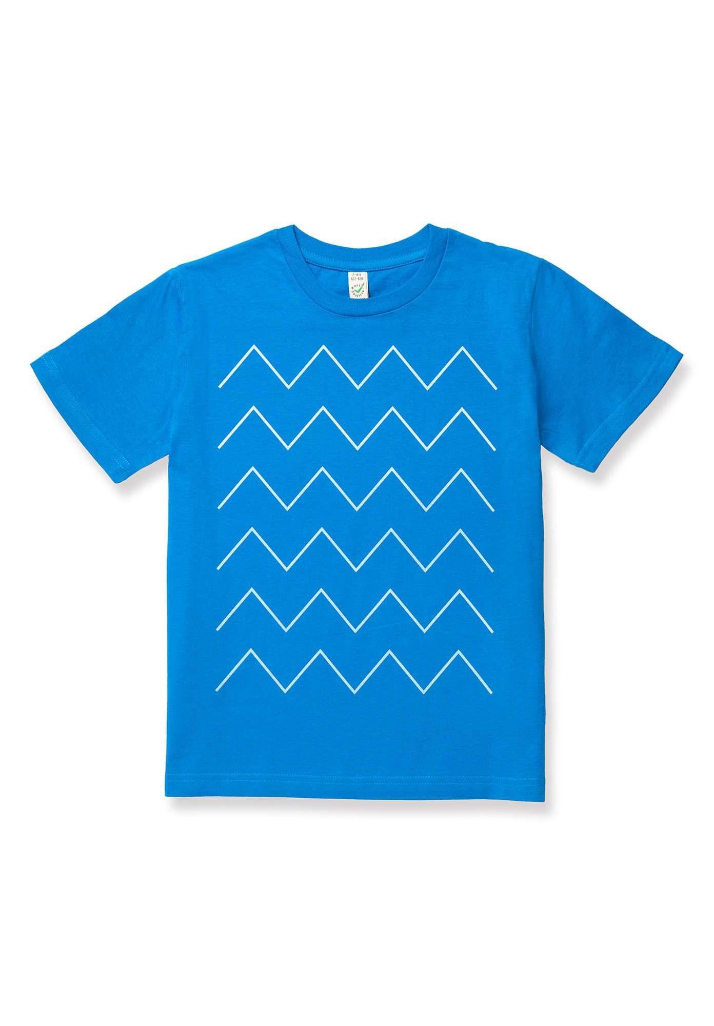 Thokkthokk Kinder T Shirt Thin Zigzag Blau Bio Fair Veganliebe Shirts Vegane Kleidung Kinder T Shirt