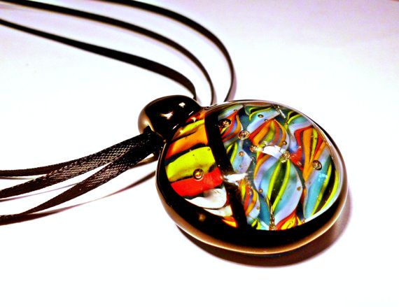 So very proud to say I know this awesome artist! Funkystripes Askew Pendant by J9glassart on Etsy, $48.00