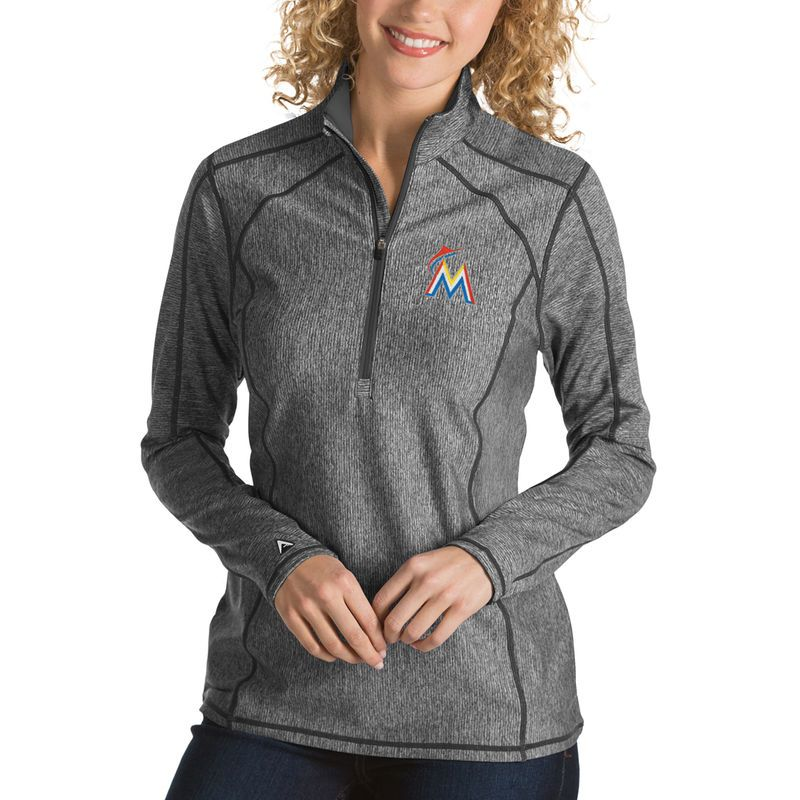 Miami Marlins Antigua Women s Tempo Desert Dry 1 4-Zip Pullover Jacket -  Heathered Charcoal 9b397447d