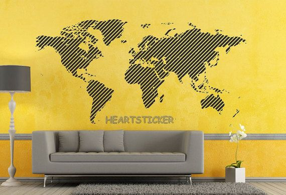 Line World map wall decal office wall Decoration sticker | Office ...