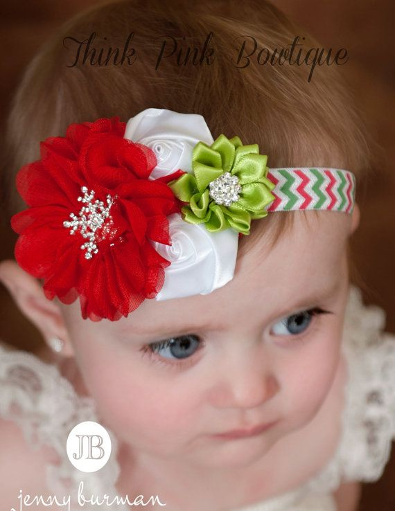 Handmade Christmas Girls Baby Glitter Elastic Stretchy Headband