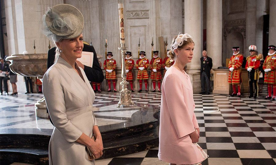 Twelve-year-old Lady Louise arrived with her mother, the Countess of Wessex, looking lovely in a pale pink coat and headband.