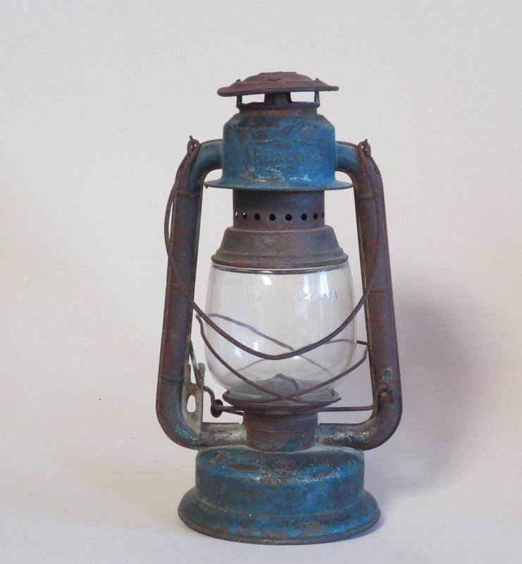 Vintage Gsw Blue Beacon Railroad Kerosene Oil Lantern Lamp Clear Globe Canada Ebay
