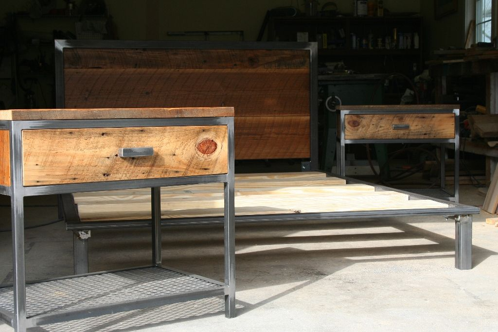 Industrial Wood And Metal Nightstand: Industrial Bed - Google Search