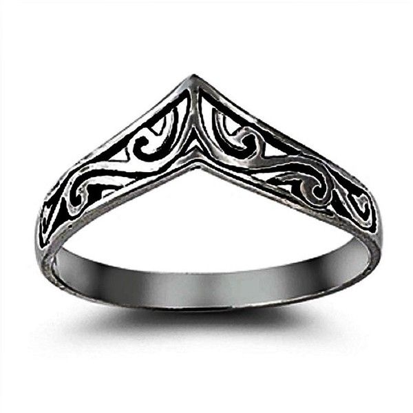 Filigree Simple Plain Chevron Midi Ring Black Gold Plated 925 Sterling... ($23) ❤ liked on Polyvore featuring jewelry, rings, sterling silver jewelry, wide sterling silver rings, chevron rings, chevron midi ring and engagement rings