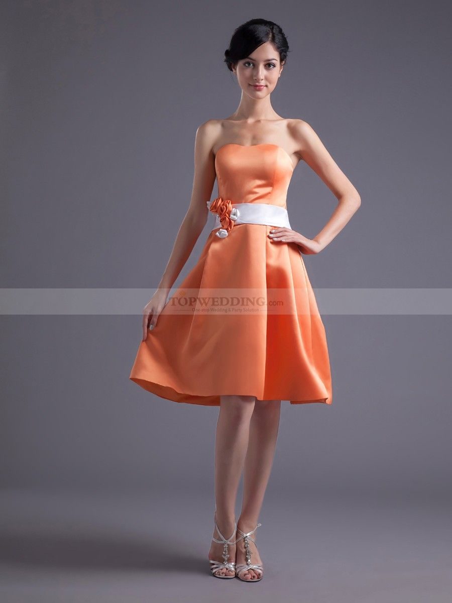 Sweetheart Satin Knee Length A Line Party Dress with Floral Sash