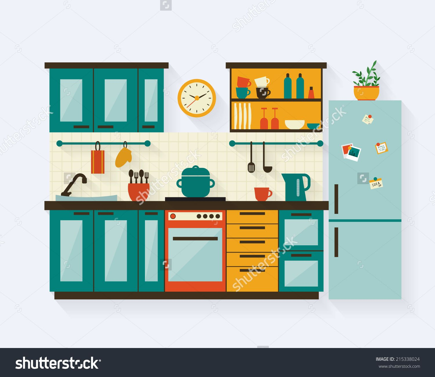 Cartoon Kitchen Furniture: Kitchen With Furniture And Long Shadows. Flat Style Vector
