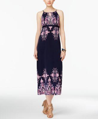 ee43a1faa15 INC International Concepts Petite Printed Empire-Waist Maxi Dress ...