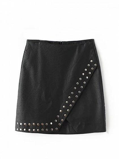 ecb877b8ec Black High Waist Stud Detail Leather Look Pencil Mini Skirt ...