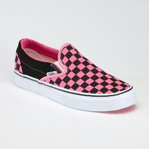f47fa85864f6 Pink and Black Checkered Vans
