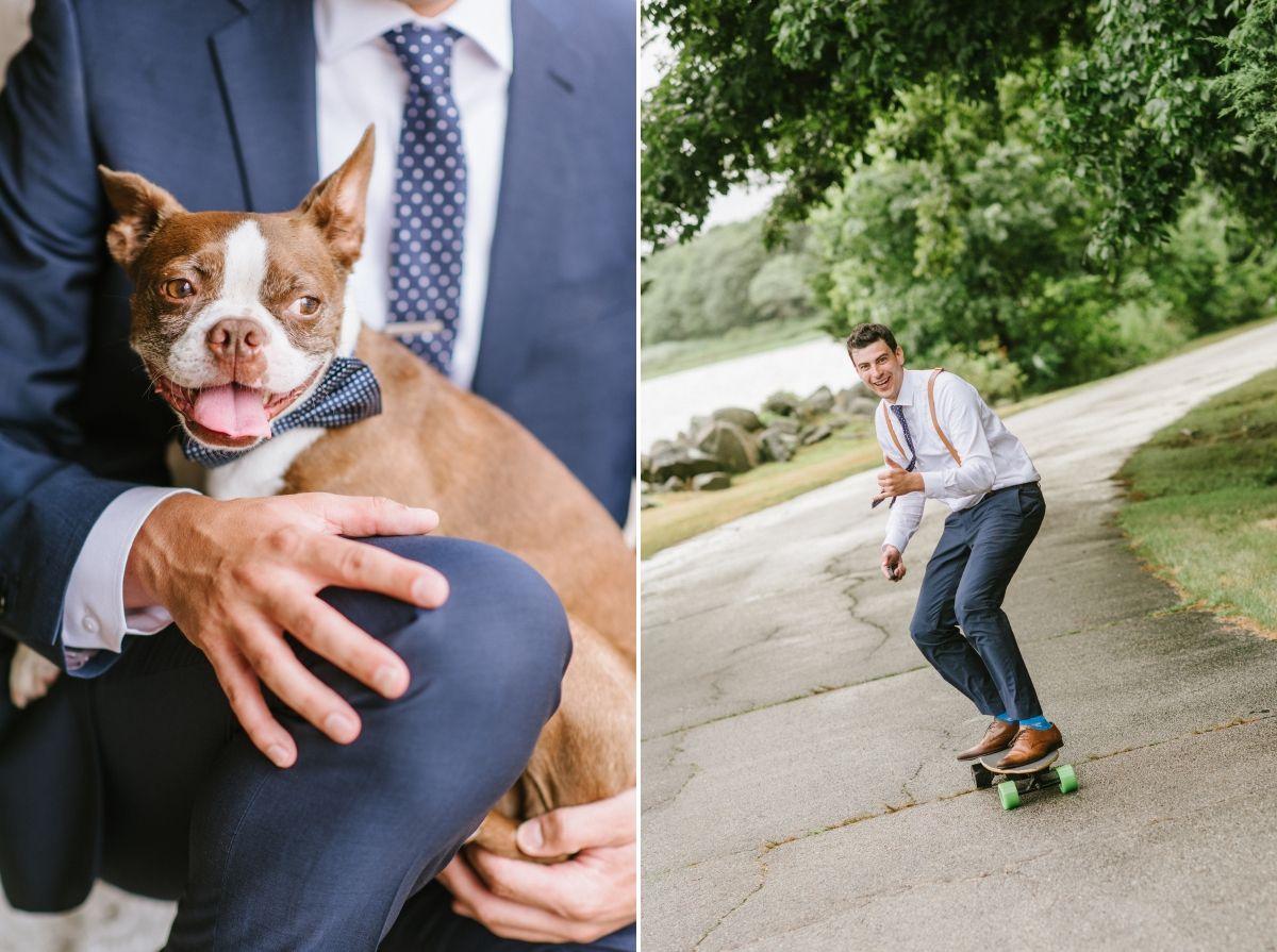 Dog pet bowtie skateboard groom rhode island wedding