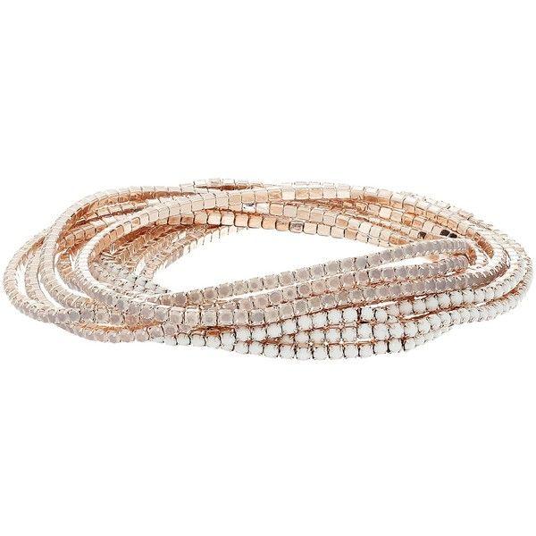 GUESS 10Piece Stone Stretch Bracelet Set Rose GoldWhite Opal