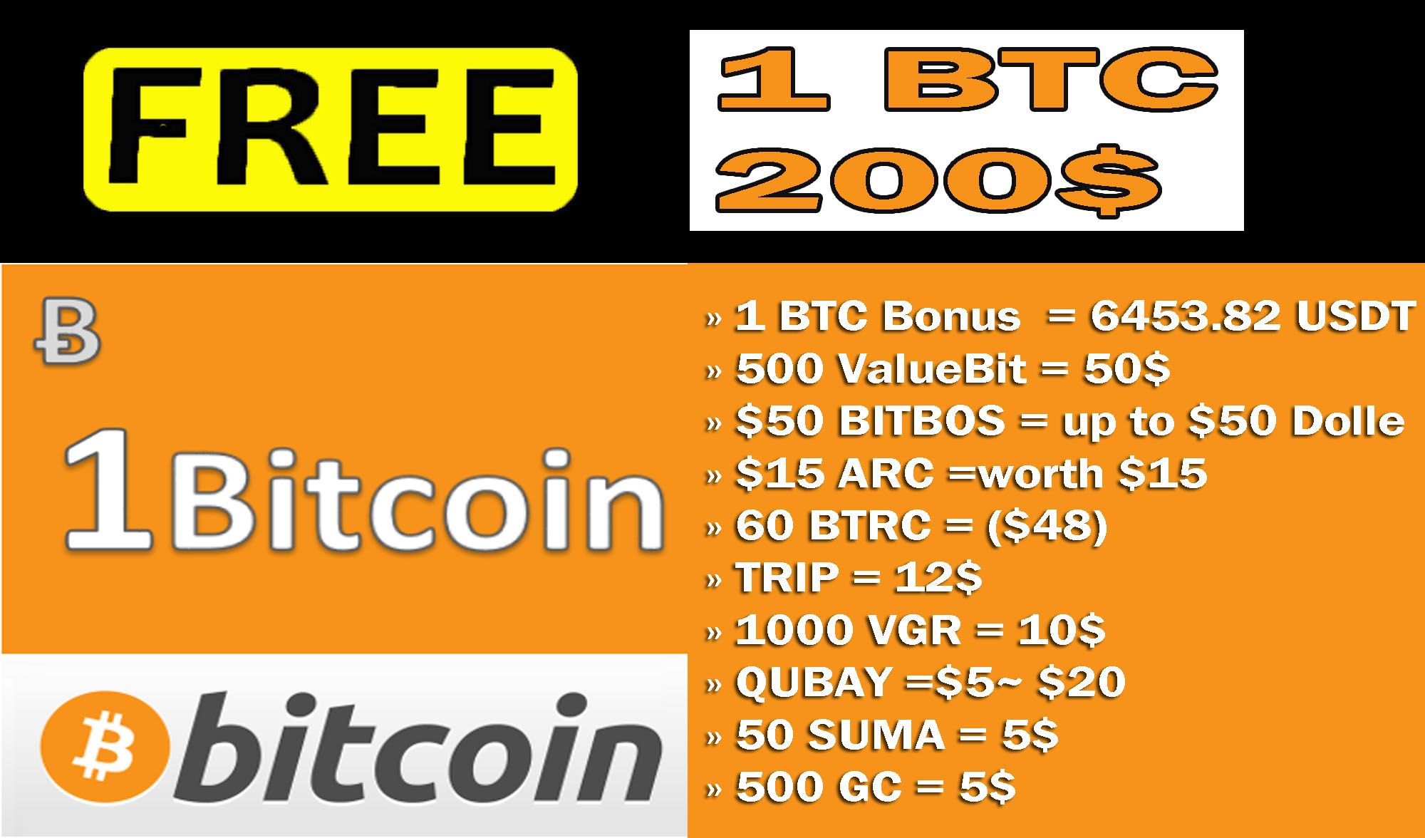 free 1 BTC / 6453 82 USDT + free 200$ + Free coins exchange
