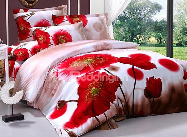 Charming Poppy Flower Print 4 Piece Cotton Duvet Cover Cotton Duvet Cover Cotton Duvet Bed Linens Luxury
