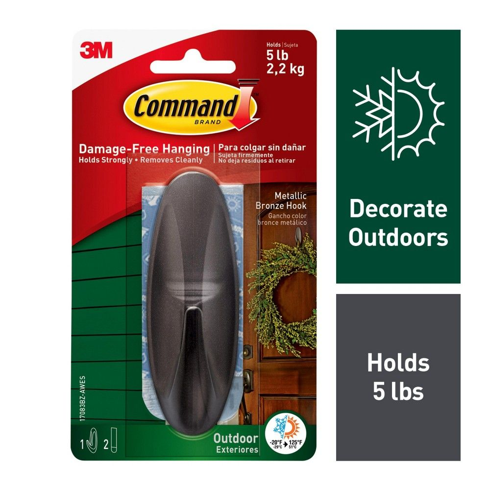 Command 1 Hook 2 Strips Large Sized Outdoor Designer Hook With Foam Strips Metallic Bronze